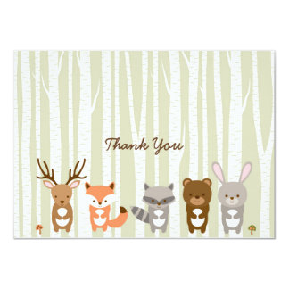 Woodland Forest Animal Baby Shower Thank You Card