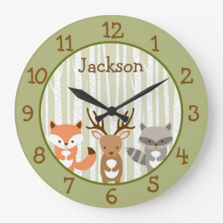 Woodland Forest Animal Nursery Large Clock