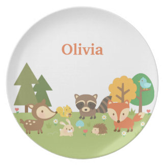 Woodland Forest Animals and Creatures For Kids Dinner Plates
