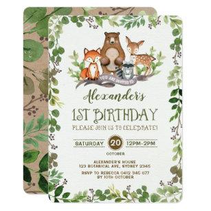 Woodland Forest Animals First 1st Birthday Invite