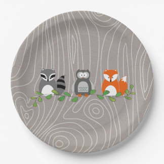 Woodland Forest Animals Paper Plate 9 Inch Paper Plate