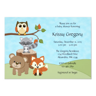 "Woodland Forest Baby Shower Invitations 5"" X 7"" Invitation Card"