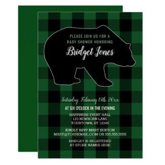 Woodland Forest Bear Lumberjack Plaid Baby Shower Card
