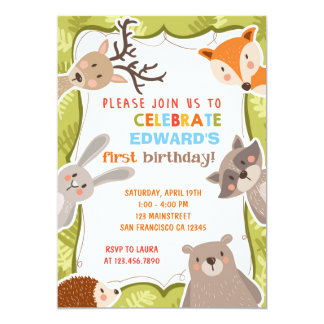Woodland Forest Birthday Party Invition Card