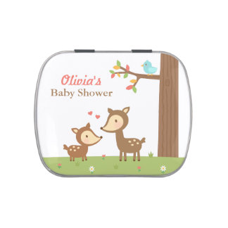 Woodland Forest Deer Baby Shower Party Treats Jelly Belly Candy Tin