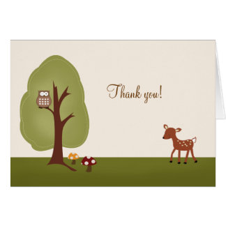 WOODLAND Forest  Deer Folded Thank you note Card