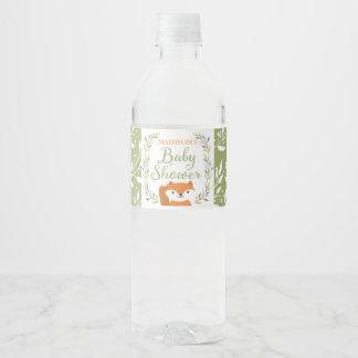 Woodland Forest Fox Water Bottle Label