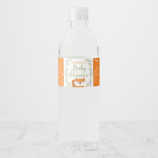 Woodland Forest Fox Water Bottle Label