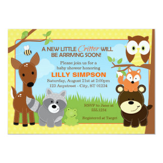 Woodland Forest Friends Baby Shower Invitations