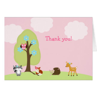 Woodland Forest Friends Folded Thank you Note Note Card
