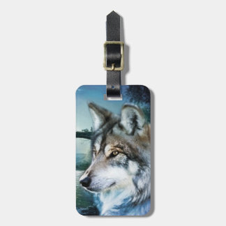woodland forest moonlight full moon wolf luggage tag