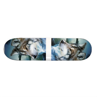 woodland forest moonlight full moon wolf skate board decks