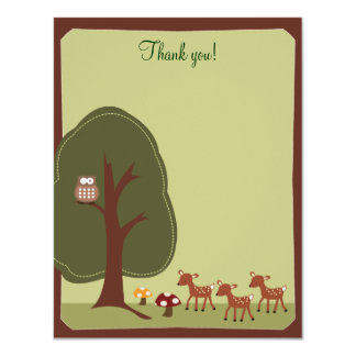 Woodland Forest Nature 4x5 Thank you note {TBA} 11 Cm X 14 Cm Invitation Card