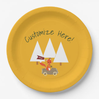Woodland forest party fox paper plate