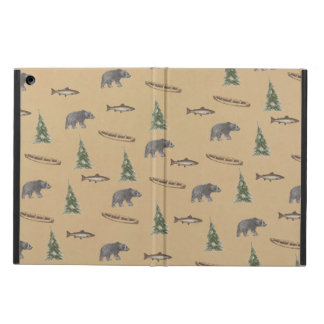 Woodland Forest Rustic Bear Fish Tree Print iPad Air Case
