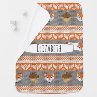 Woodland Fox & Acorns Orange & Grey Baby's Name Baby Blanket