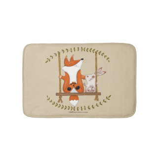 Woodland Fox and Bunny Swing Bath Mat