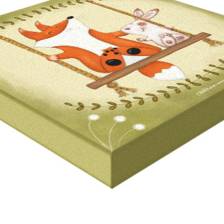 Woodland Fox and Bunny Swing Canvas Print