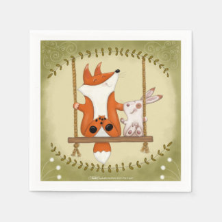 Woodland Fox and Bunny Swing Paper Napkin