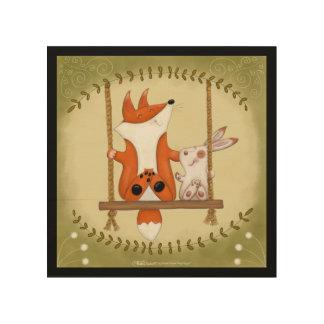 Woodland Fox and Bunny Swing Wood Print