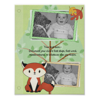 Woodland Fox Baby Book Page Poster