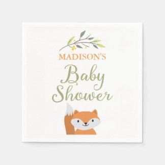 Woodland Fox Baby Shower Napkins Disposable Napkins
