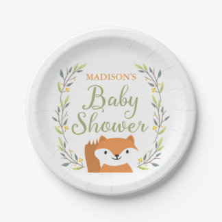 Woodland Fox Baby Shower Plates 7 Inch Paper Plate