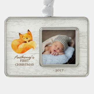 Woodland Fox Baby's 1st Christmas Photo Ornament