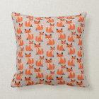 Woodland fox cute retro whimsical hipster foxes cushion