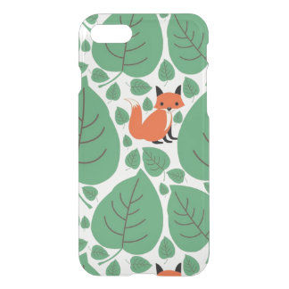 Woodland fox cute whimsical hipster foxes clear iPhone 8/7 case