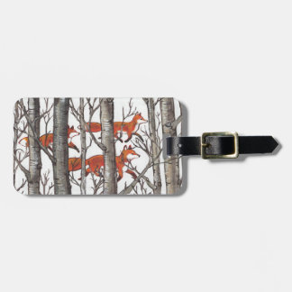 Woodland Fox Forest Luggage Tag Gray Personalize