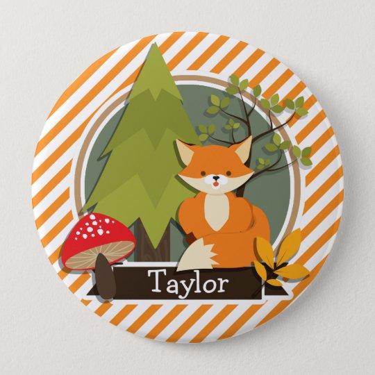 Woodland Fox; Orange and White Stripes 10 Cm Round Badge