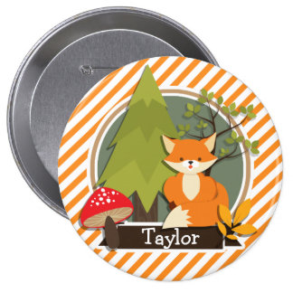 Woodland Fox; Orange and White Stripes 10 Cm Round Badge