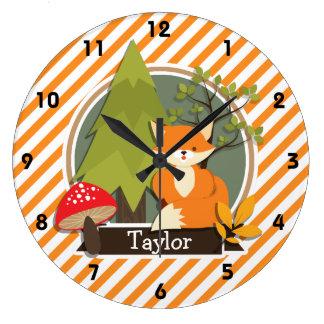 Woodland Fox; Orange and White Stripes Large Clock