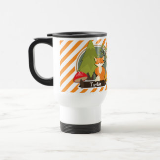 Woodland Fox; Orange and White Stripes Stainless Steel Travel Mug