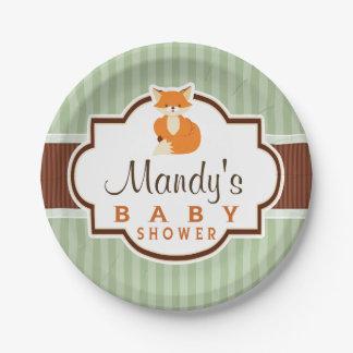 Woodland Fox; Orange, Sage, Brown Baby Shower 7 Inch Paper Plate