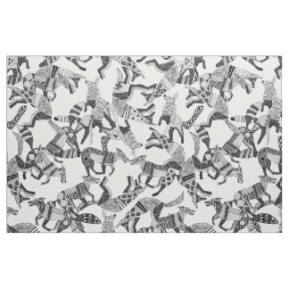 woodland fox party black white fabric