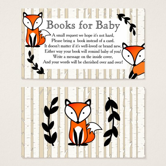 Woodland Fox & White Birch Trees Book Request Business Card