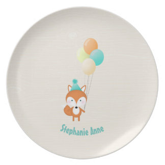 Woodland Fox with Balloons Plates