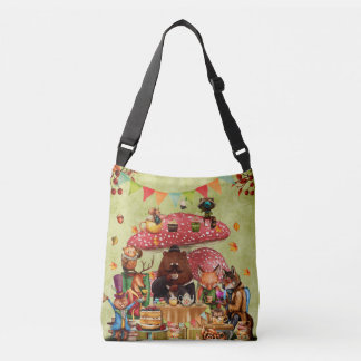 Woodland Friends at Teatime in Forest Crossbody Bag
