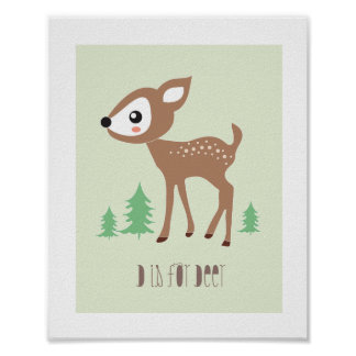 Woodland Friends - D is for Deer Art Print