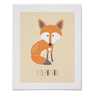 Woodland Friends - F is for Fox Art Print