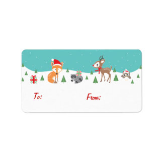 Woodland Friends Holiday Gift Tags Address Label