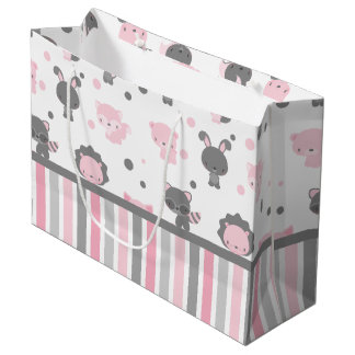 Woodland Friends Pink & Grey Gift Bag