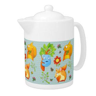Woodland Fun aqua Teapot