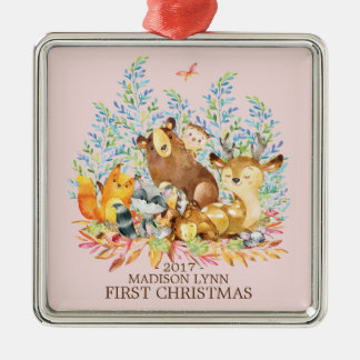 Woodland Girls Baby's 1ST Christmas Ornament