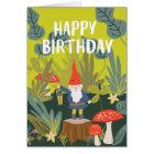 Woodland Gnome Birthday Wishes Card