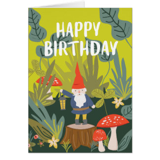Woodland Gnome Birthday Wishes Card