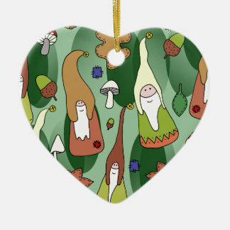 Woodland Gnomes Ceramic Heart Decoration
