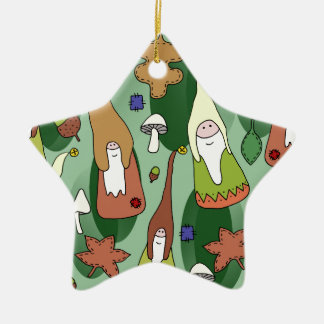 Woodland Gnomes Ceramic Star Decoration